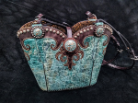 #178-20 Turquoise leather western bag with horse tack handles
