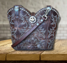 #198-20 Deep brown cowboy boot purse with 2 handles
