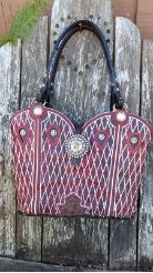 882-14 Dark Red Cowboy boot purse with Texas Stars