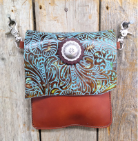 #402 Leather Turquoise and brown hipster bag