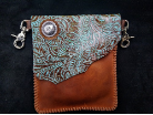 Turquoise tooled and brown Leather hipster trigger bag