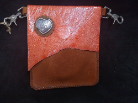 Orange and brown Leather hipster trigger bag with a heart concho