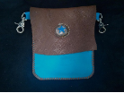 Blue and Brown Leather hipster trigger bag