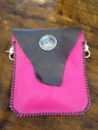 Pink and  Brown Leather hipster trigger bag