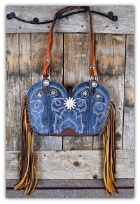 146-17 Sky blue cowboy boot purse with fringe