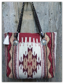 205 Saddle blanket bag, Barn Red, cream, brown, horse rein handles