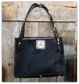 101 Cowhide Purse in Black with concho and horse reins