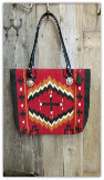 211 Saddle blanket bag,Red, black cross