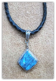 Braided Leather necklace with sterling silver Turquoise pendant