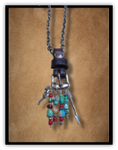 Buckle Necklace turquoise, angle wing, arrow and horseshoe charm