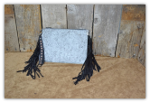 313 Cowhide Clutch bag speckle with fringe