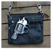 Concealed weapon Leather Zippered Holster bag Black