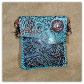Turquoise Leather hipster trigger bag