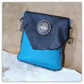 Black and turquoise Leather hipster trigger bag