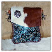 Cowhide and  Brown Leather hipster trigger bag star concho