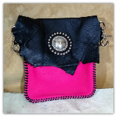 Black and Pink Leather hipster trigger bag Steer Concho
