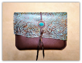 Table sleeve turquoise tooled leather