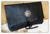 Black leather tablet sleeve