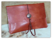Saddle Tan leather tablet sleeve