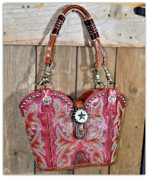 #145-19 Red Western Bag with mulit color stitching