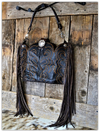 150-19 Dark Brown Rustic cowboy boot purse with fringe