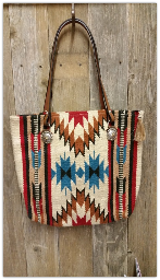 206 Saddle blanket bag, Red, turquoise, cream