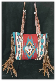207b Red horse blanket purse, fringe and  Horse tack handles