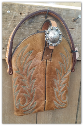 The Lil' cowboy boot bag Rustic Brown with brow band handle