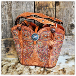#147-19 Saddle Tan cowboy boot purse with horse tack handles