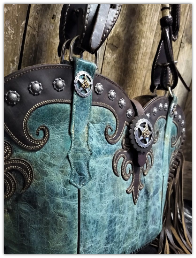 158-19 Turquoise Cowboy boot purse with fringe