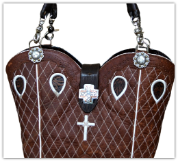 #192-20 Brown Twisted X, white stitching with cross