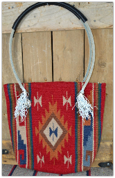 201 Red saddle blanket bag with rope handles