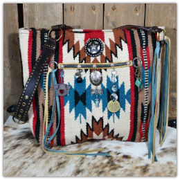 206a Saddle blanket bag rustic trinkets, horse tack, sterling silver