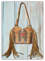 #207-21 Western purse made from peace, heart wings  corral cowboy boots