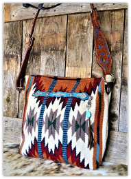 215a Orange and turquoise Saddle blanket bag, Single handle