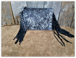 Cowhide Clutch bag black and white brindle with fringe
