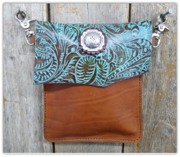 #400 Turquoise and brown hipster bag