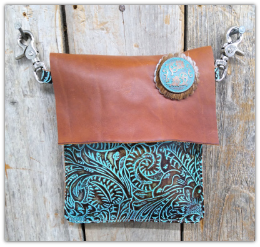 #401 Leather Turquoise and brown hipster bag