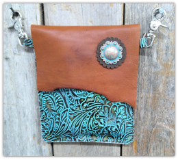 #403 Leather Turquoise and brown hipster bag