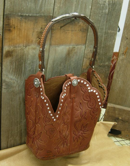 Brown Leather Purse With Bling The Diamond 57 Cowboy Boot
