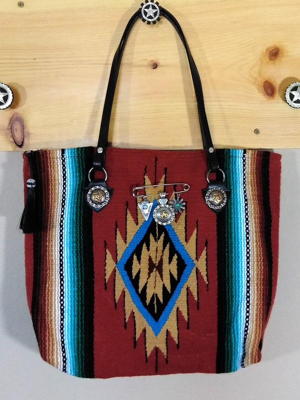 Turquoise Indian Chief Blanket Bag
