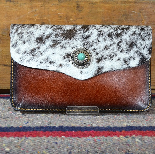 cowhide clutch light brindle