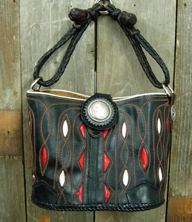 Black leather purse with red and white inlay