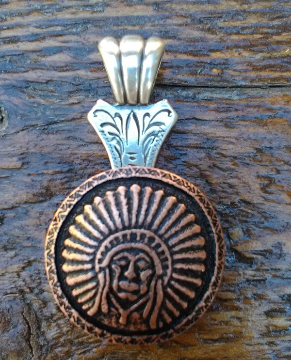 Indian Head dress concho pendant