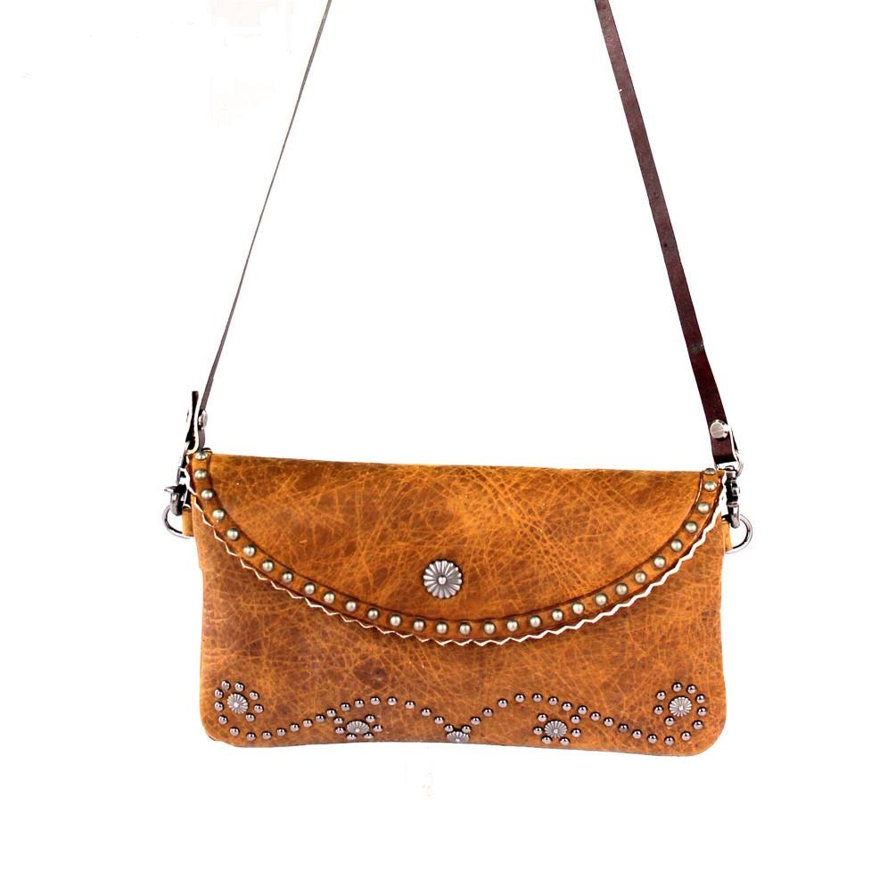 cow hide clutch cross body bag