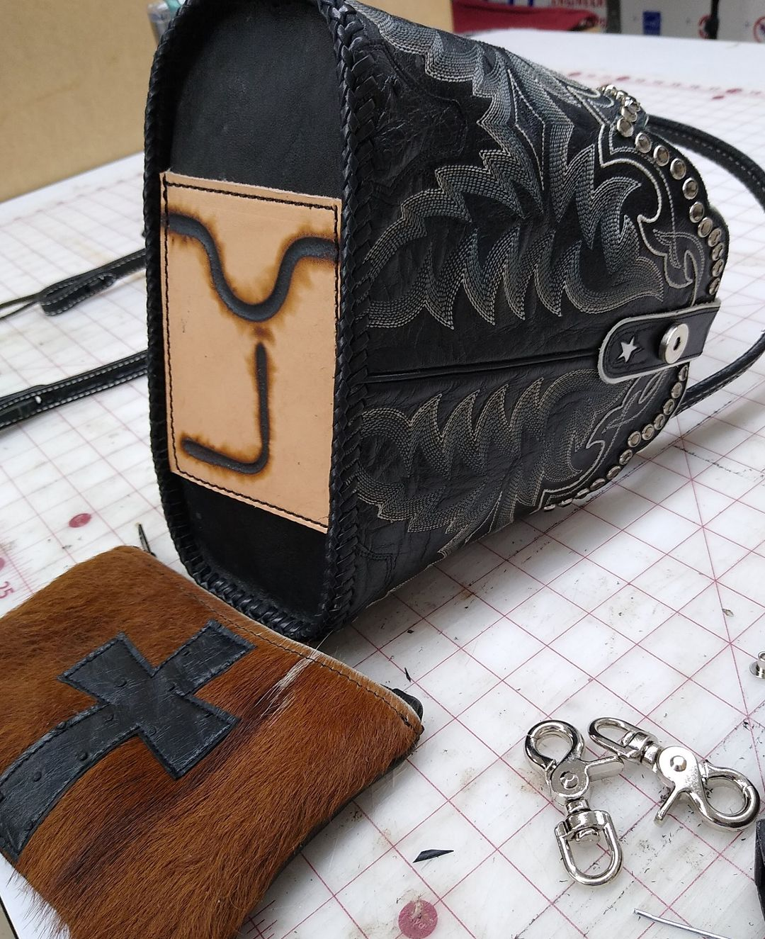 Custom Brand on a cowboy boot purse