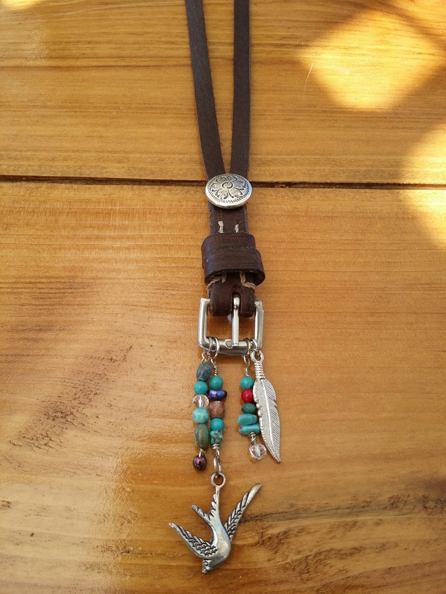 Western necklace made from horse tack buckle