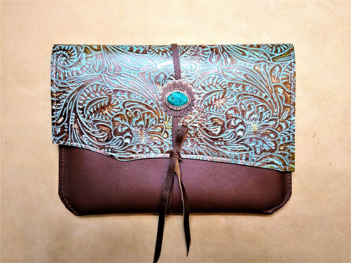 Leather handcrafted tablet sleeve with turquoise patina tooled leather